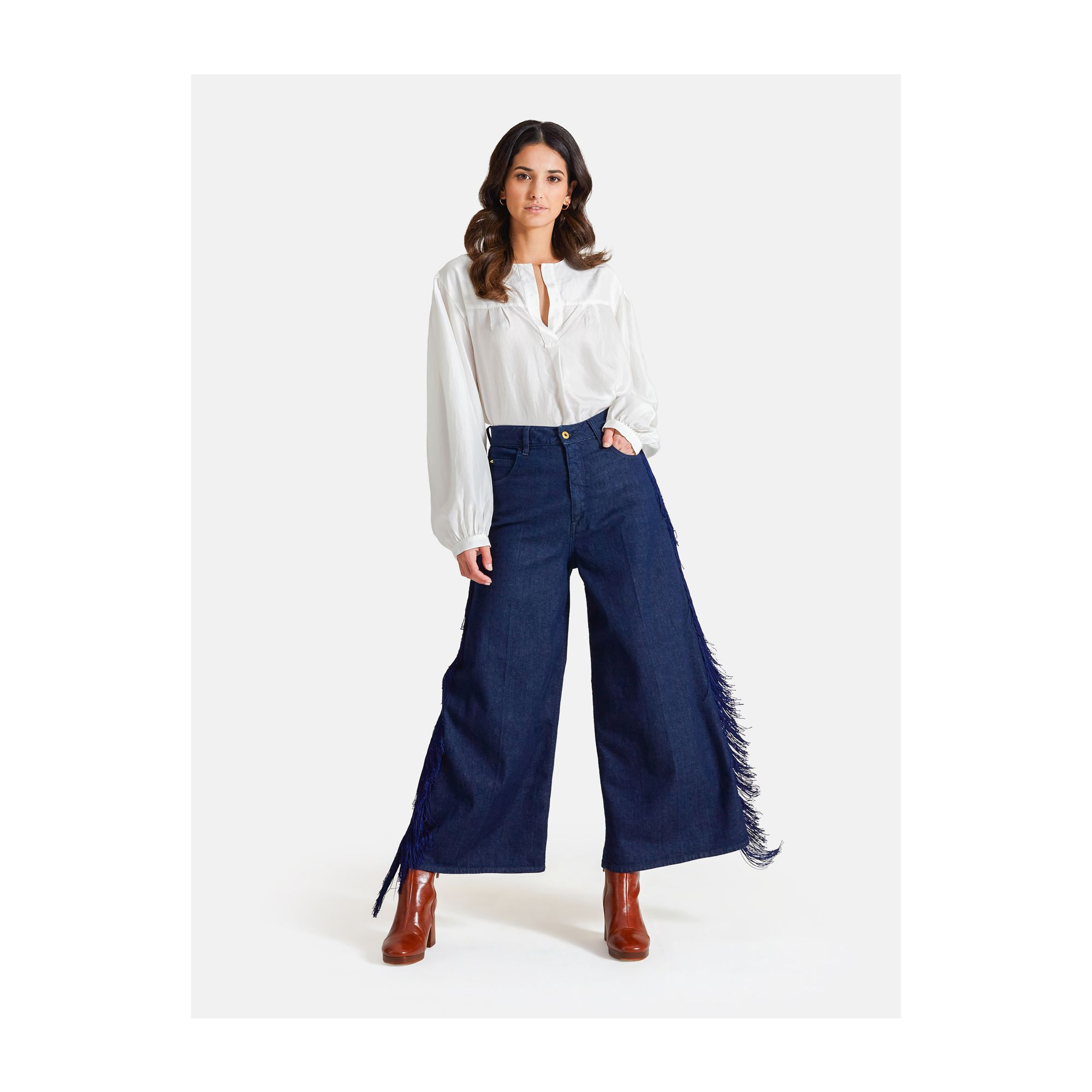 OPEN FRINGED HIGH RISE PALAZZO RINSE WASH NAVY BLUE