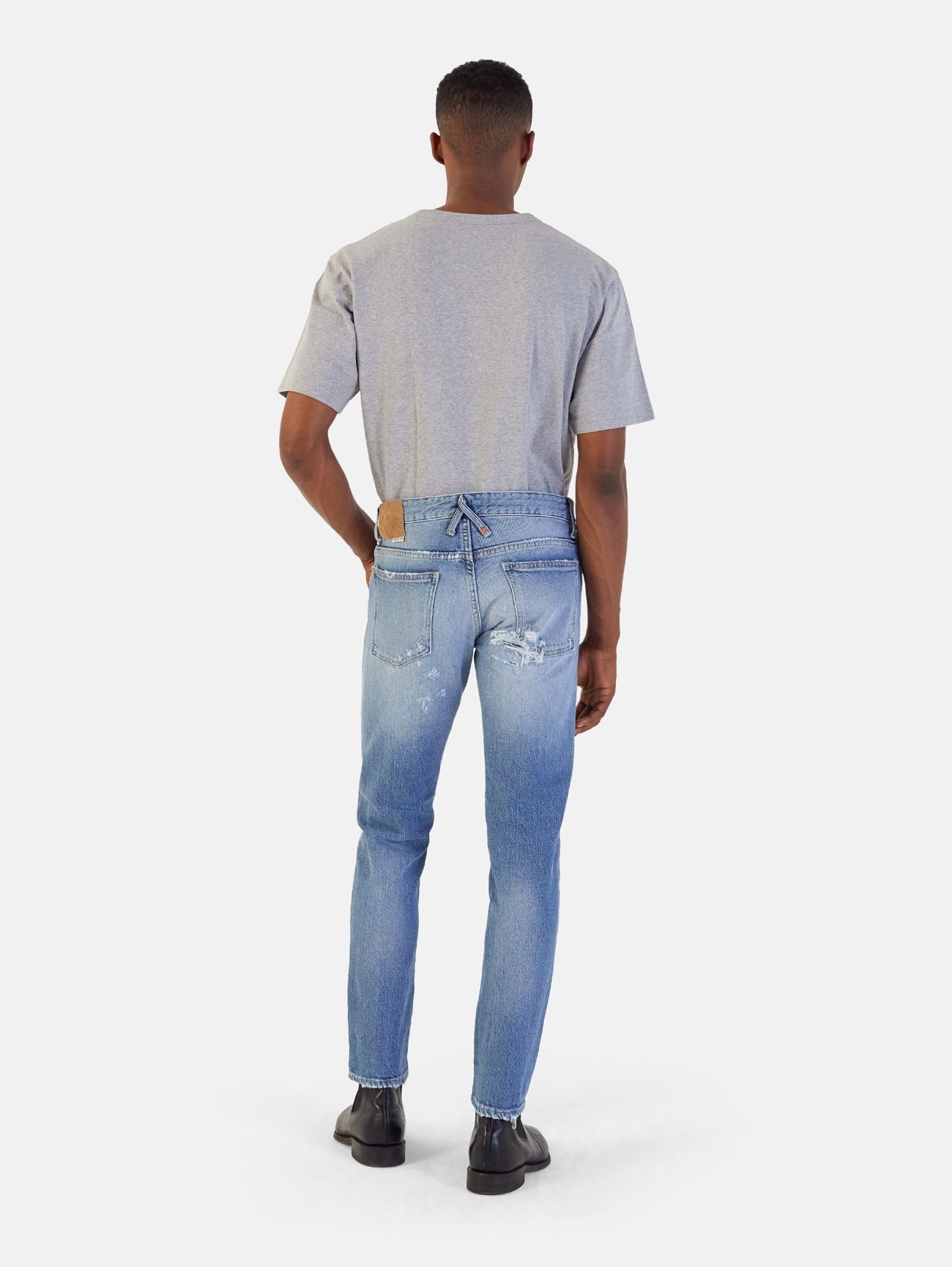 BONE COMFORT SKINNY HAND MADE DESTROYED AND REPAIRED BLUE
