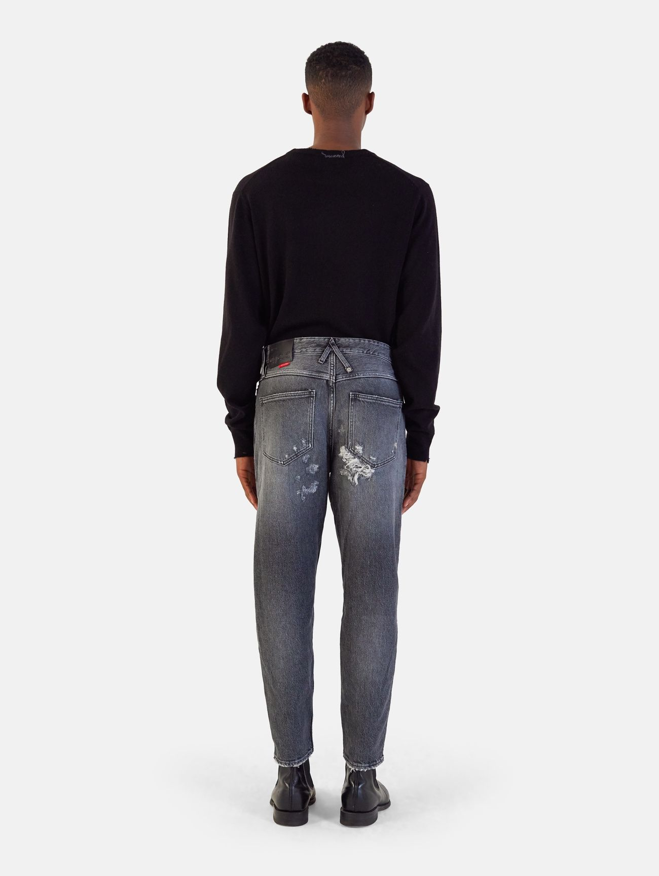 PONY CROPPED HAND MADE DESTROYED & REPAIRED GRIGIO SCURO
