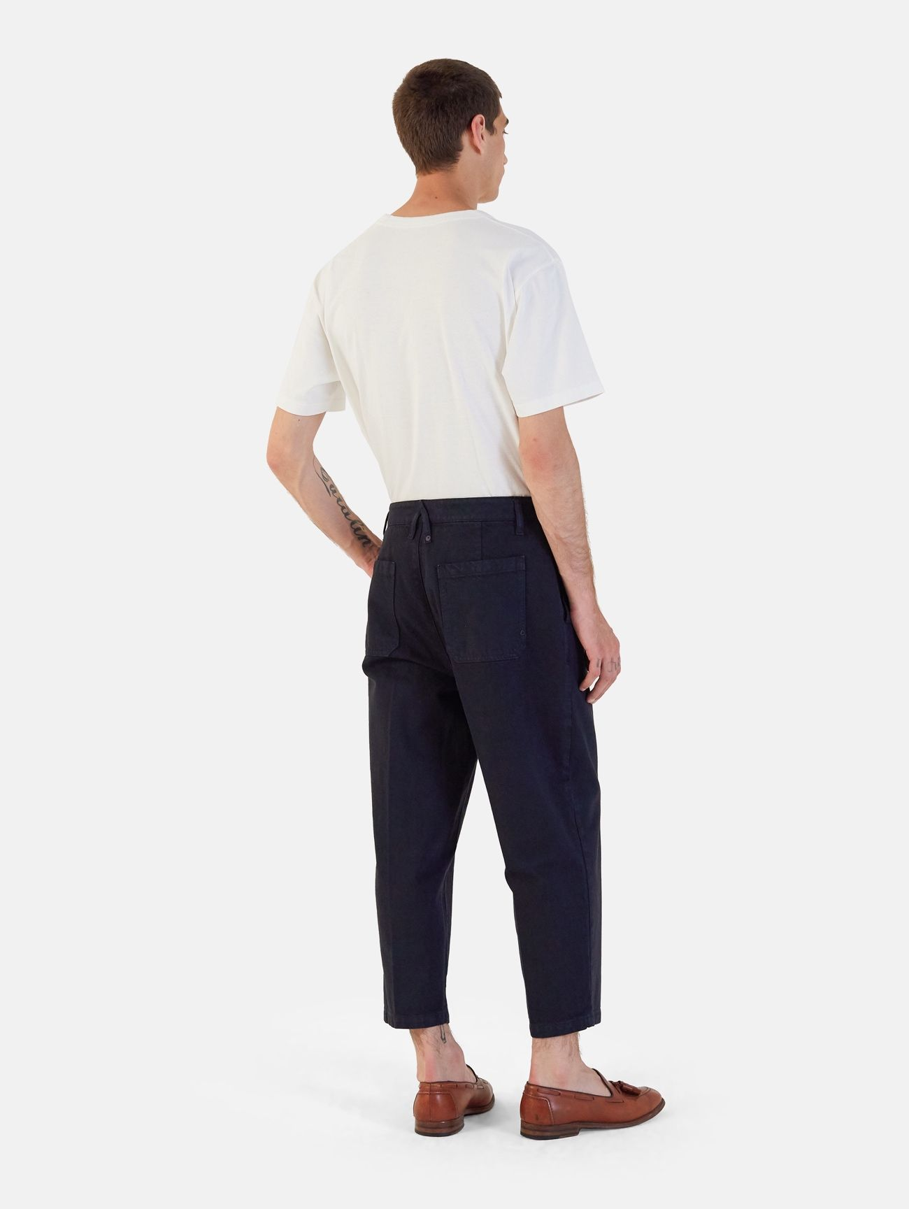 YOUNG CHINO RIGID OVER ANKLE GARMENT DYED NAVY SCURO