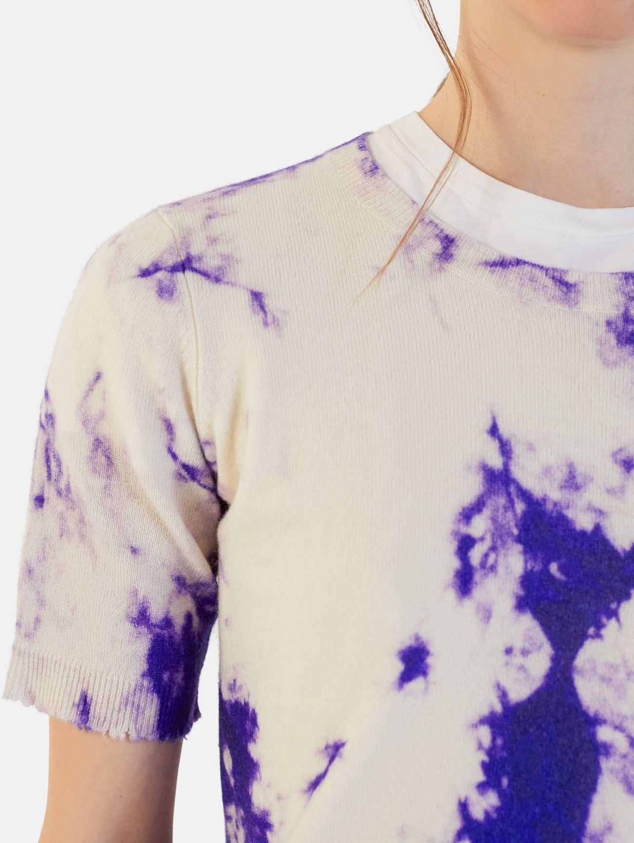 ROUND NECK ALL OVER PRINT S/S 100% CASHMERE BLUE FLUO