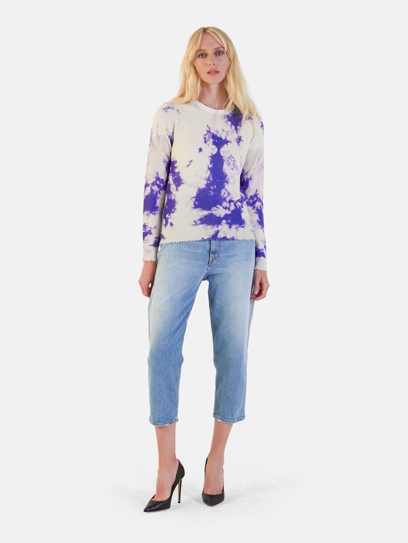 ROUND NECK ALL OVER PRINT L/S 100% CASHMERE BLUE FLUO