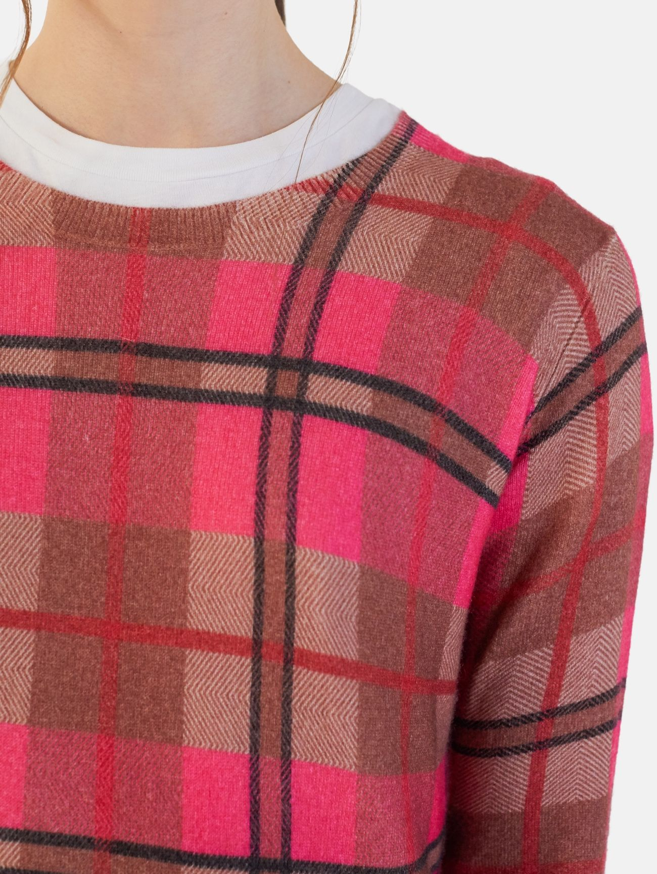 ROUND NECK ALL OVER PRINT L/S 100% CASHMERE VOLPE