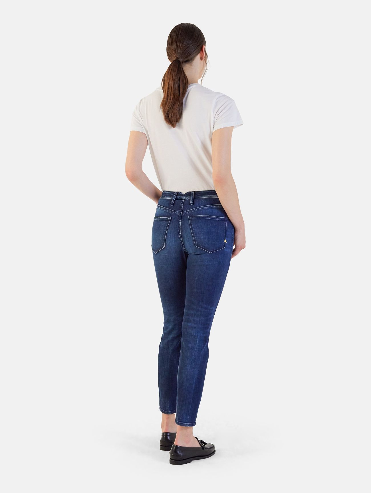 MARYLIN SKINNY SUPER HIGH WAIST STONE WASH WITH CONTRAST NAVY BLUE