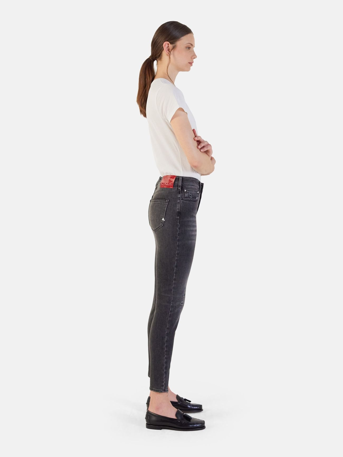 MARYLIN SKINNY SUPER HIGH WAIST USED WASH REPAIRED GRIGIO SCURO