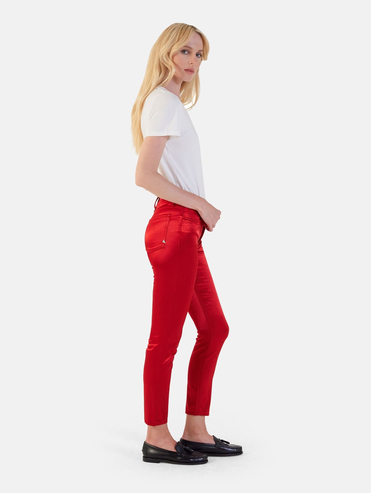 BODY SLIM HIGH RISE BOTTOM UP GARMENT DYED ROSSO