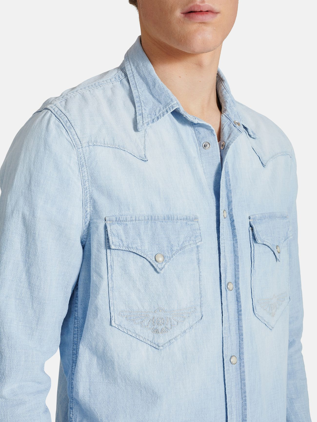 RODEO EMBROIDERY WESTERN SHIRT STONE BLEACHED SKY BLUE