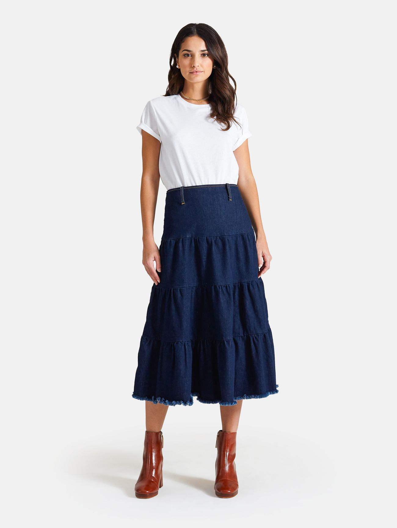 GIPSY LONG SKIRT RINSE WASH NAVY BLUE