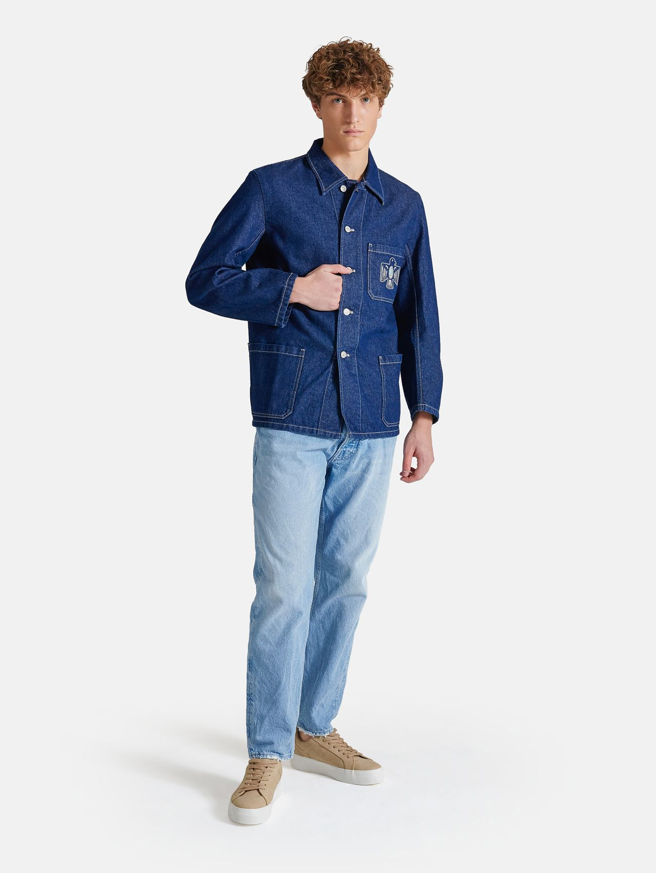 FRENCH EMBROIDERY WORK JACKET RINSE WASH NAVY BLUE