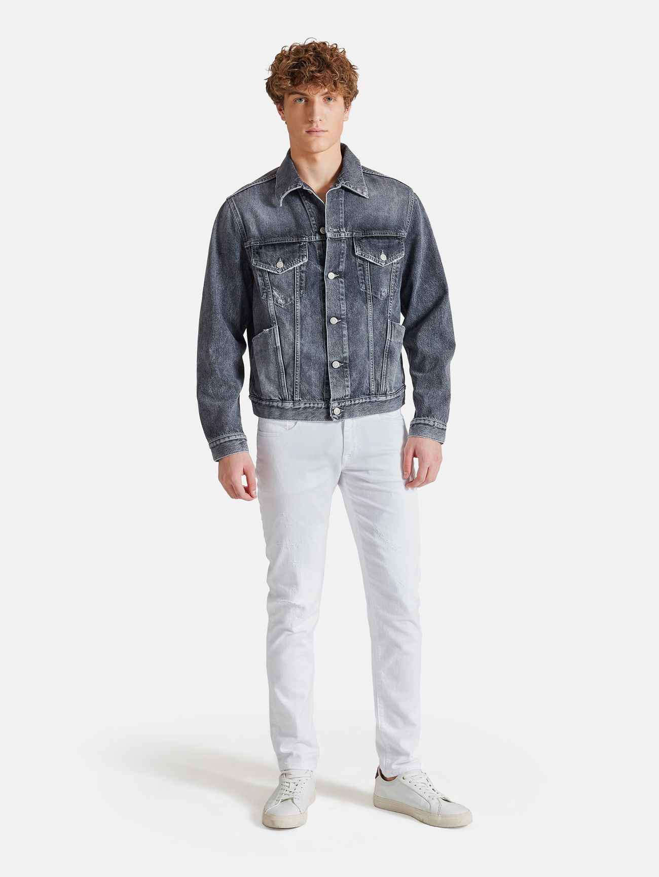 EVER DENIM TRACK JACKET SALT AND PEPPER BLACK