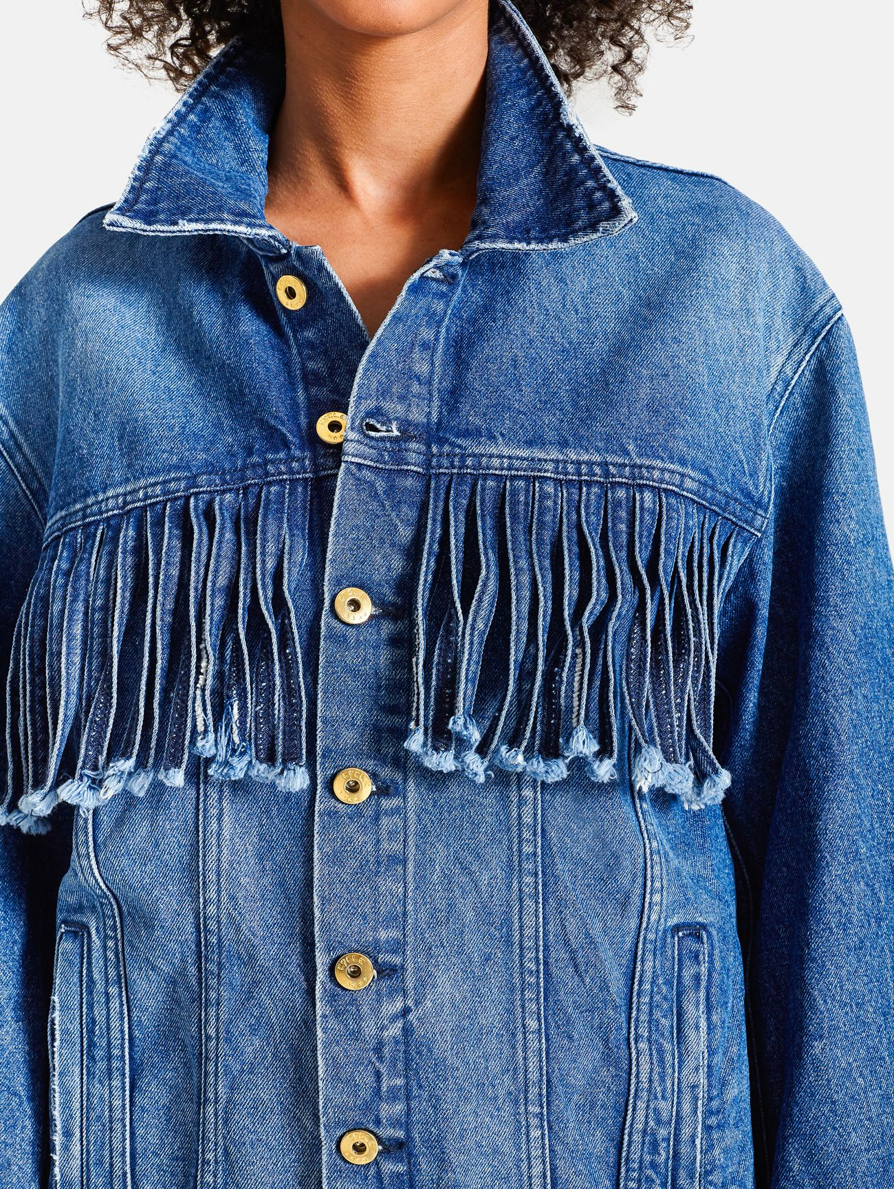 FRINGED JACKET OVER BROKEN NATURAL VINTAGE BLUE
