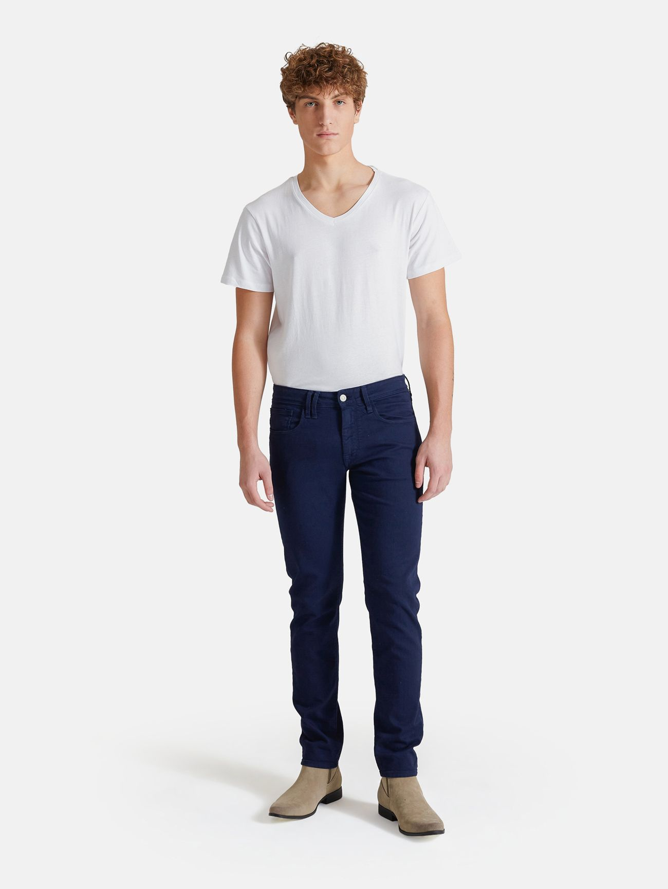 TOUCH STRETCH SKINNY GARMENT DYED NAVY BLUE