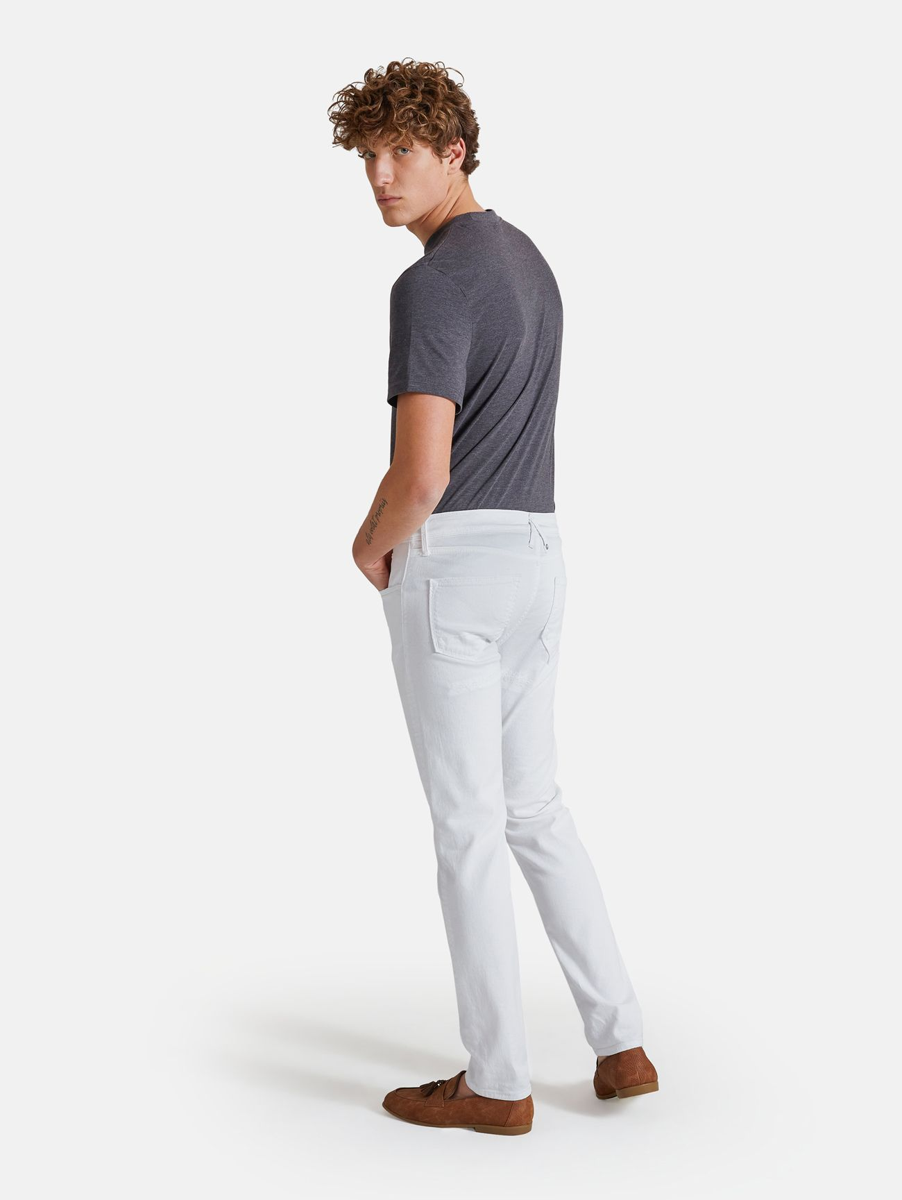 TOUCH STRETCH SKINNY RIPPED WHITE