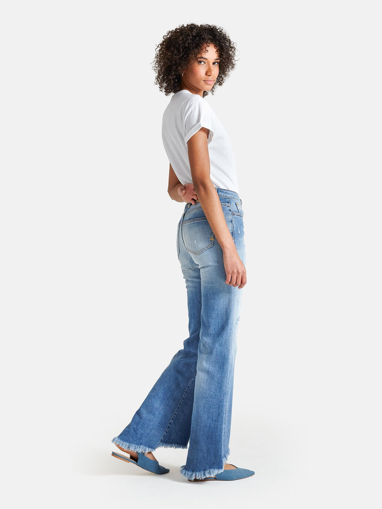 BELL BOOTCUT BLEACHED VINTAGE RIPPED LIGHT BLUE
