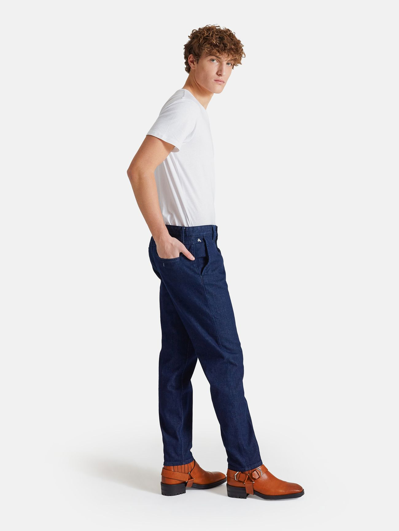CHINO CROPPED RINSE WASH NAVY BLUE