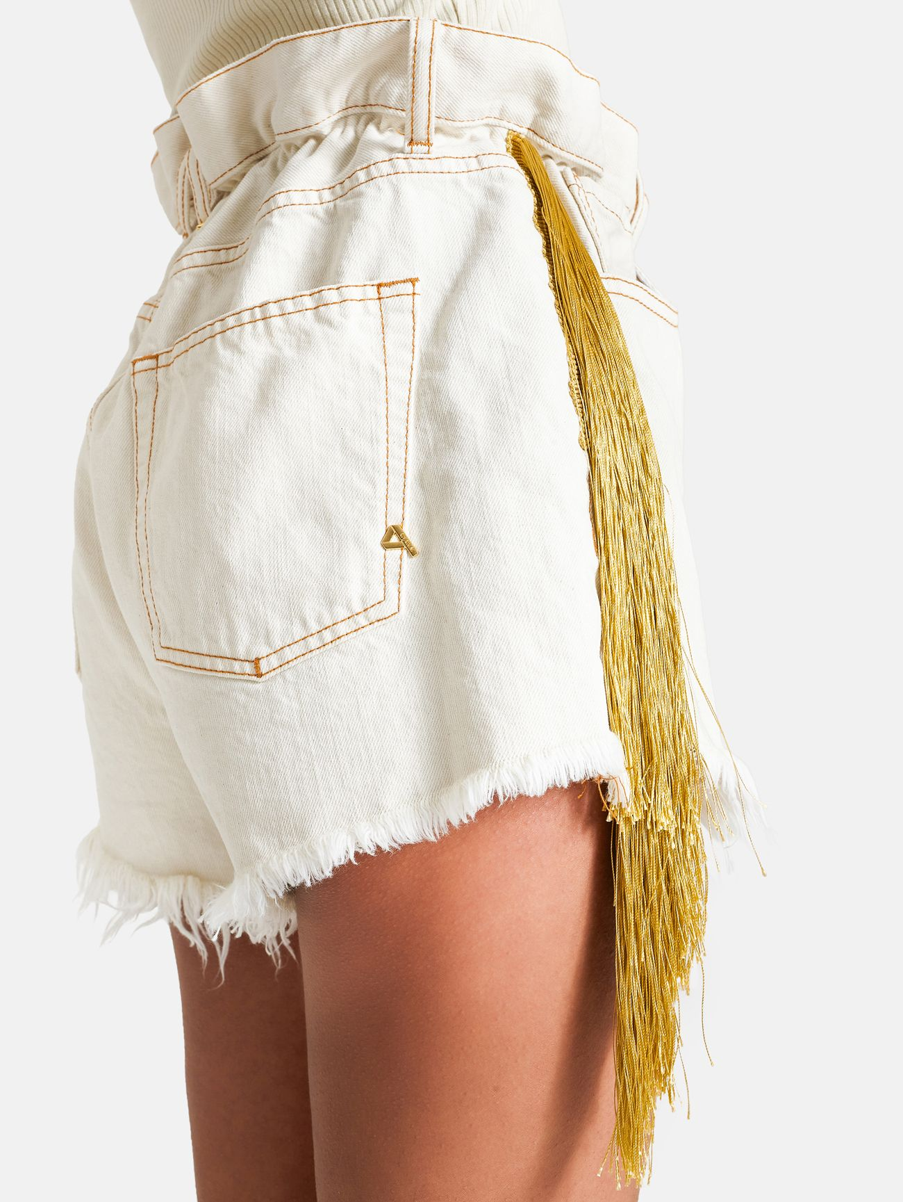 ROUTE FRINGED SHORT STONE ENZIME ECRU'