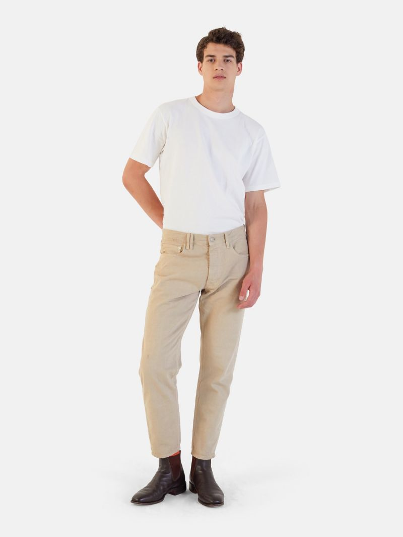 PONY CROPPED DISTRESSED AND DYED BEIGE