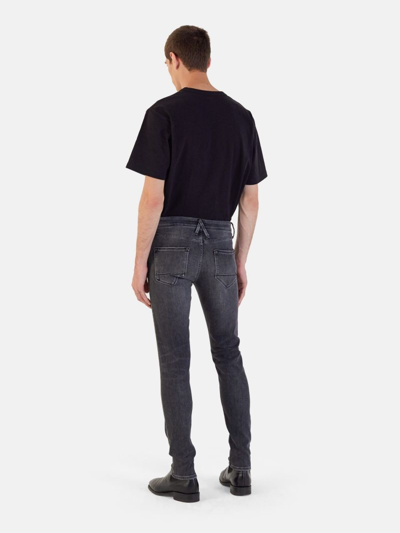 TOUCH STRETCH SKINNY USED WASH REPAIRED DARK GREY