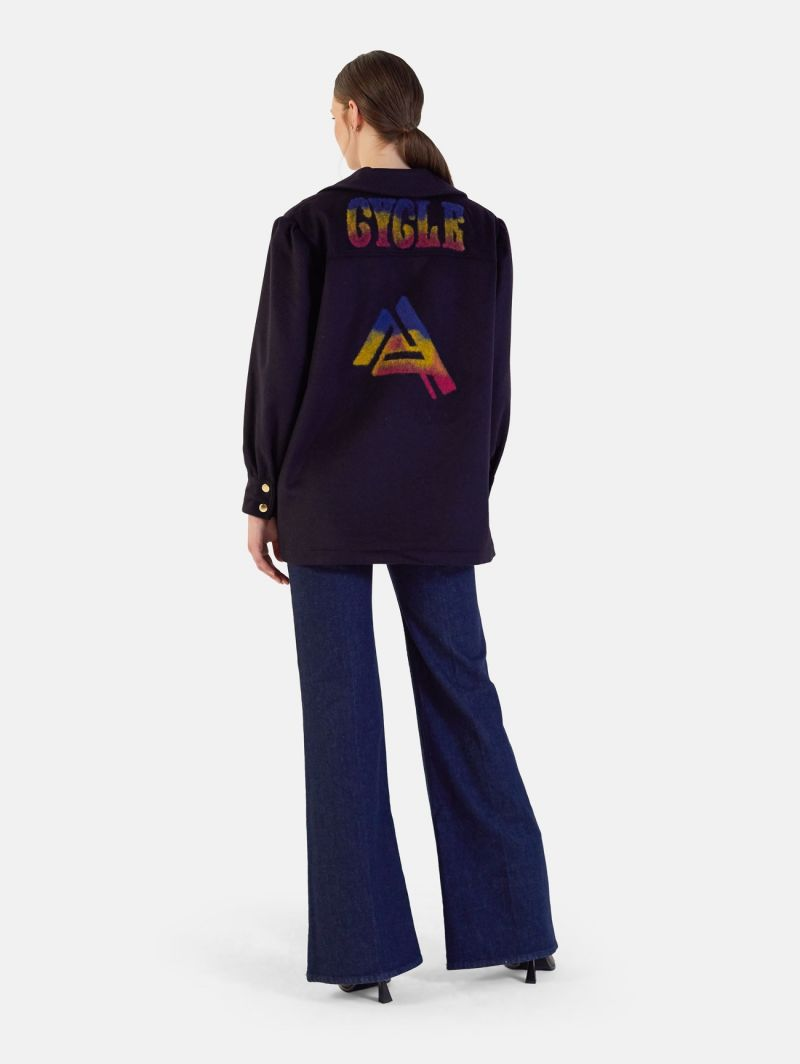 EDYE EMBROIDERY WOOL OVERSIZED SHIRT WITH GATHERED SLEEVES BLUE