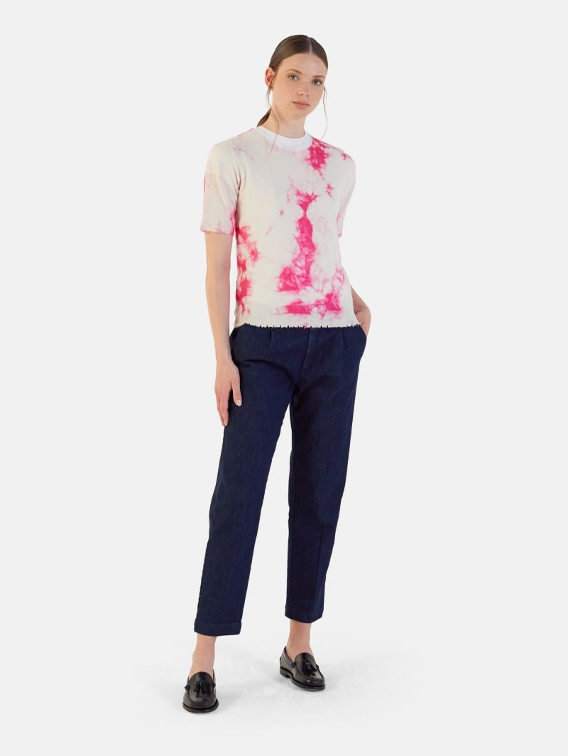 ROUND NECK ALL OVER PRINT S/S 100% CASHMERE FUXIA FLUO