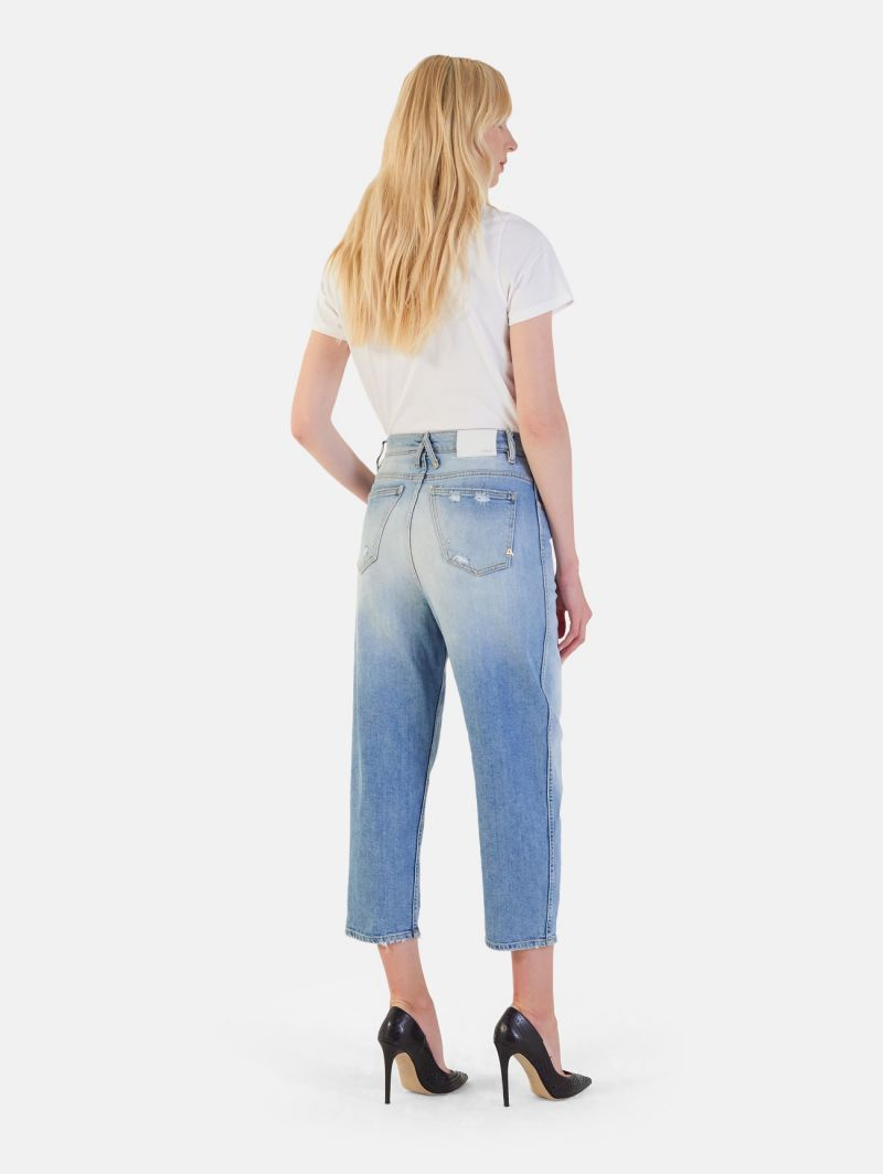 LOLA SUPER HIGH WAIST CARROT ANKLE BLEACHED DESTROYED SKY BLUE