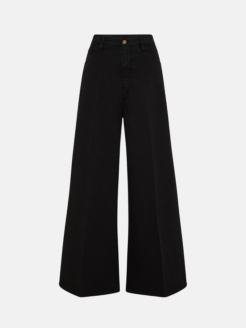 OPEN HIGH RISE PALAZZO GARMENT DYED BLACK
