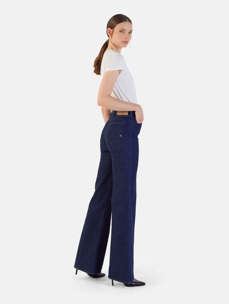 FLAIRE HIGH RISE FLARED WITH STITCHING RINSE WASH NAVY BLUE