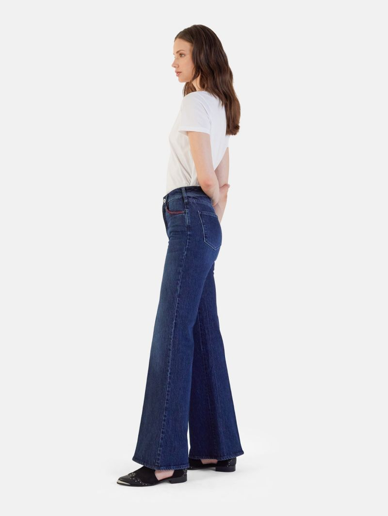 FLAIRE EMBROIDERY HIGH RISE FLARED DARK TONE USED WASH NAVY BLUE