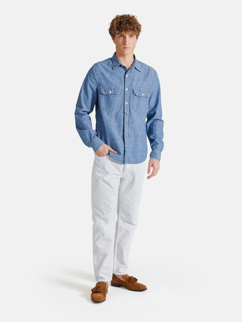 DECK WORK SHIRT RINSE WASH NAVY BLUE