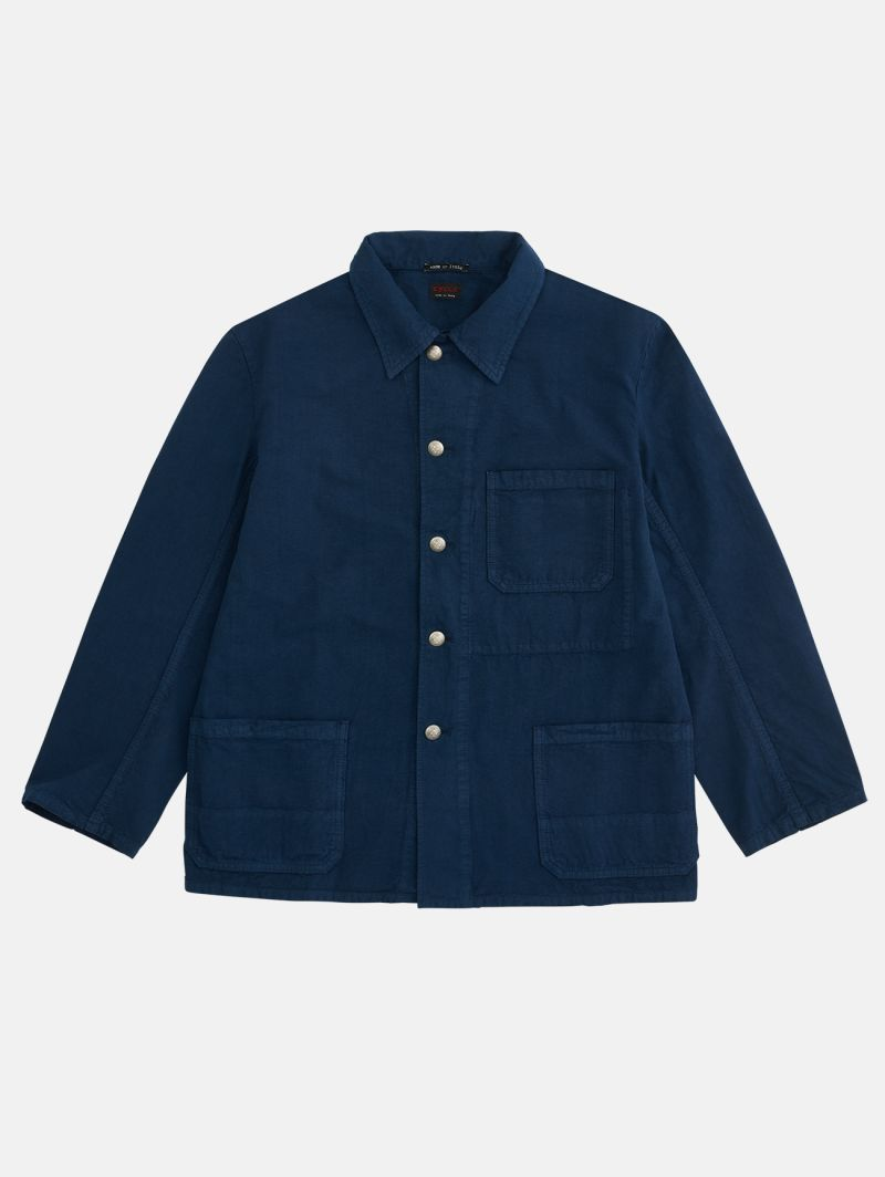 FRENCH WORK JACKET GARMENT DYED NAVY BLUE