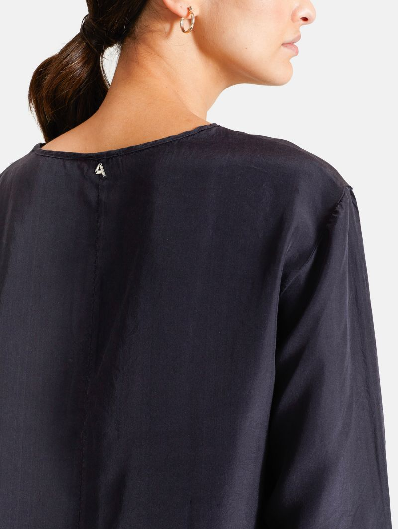 LONG T-SHIRT L/S SILK NERO
