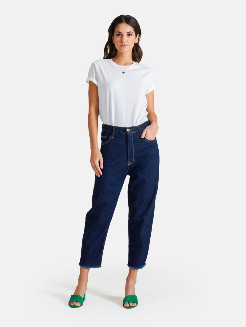 LOLA CARROT ANKLE RINSE WASH NAVY BLUE