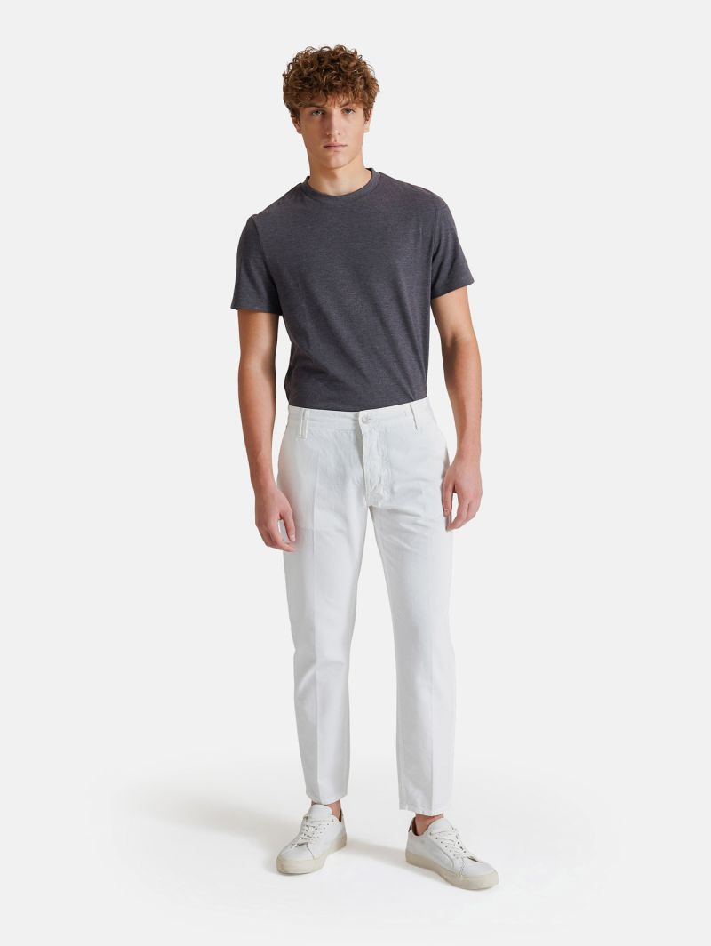 CHINO CROPPED GARMENT DYED WHITE